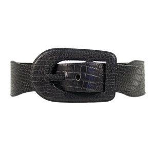 EXPRESS Wide Croc Textured Leather Belt